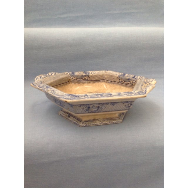 Ceramic Antique Blue and White Transferware Dish With Lid For Sale - Image 7 of 13
