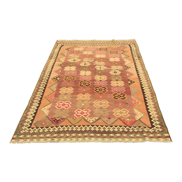 Persian, Qashqai Hand-Woven Kilim, From Iran For Sale