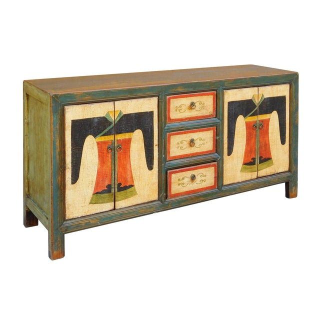 Chinese Distressed Graphic Console Table Cabinet cs2030C - Image 2 of 8