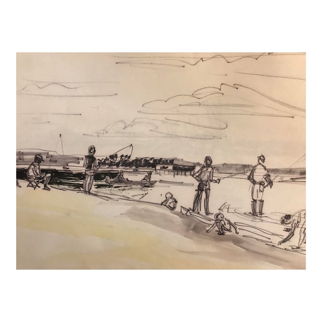 1960s Fishing Scene, Pawley's Island Painting For Sale