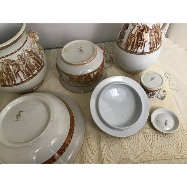 1800s Greek Roman Emperor Chamber Pot Pitcher Bathroom Set - 7 Pieces For Sale - Image 11 of 13