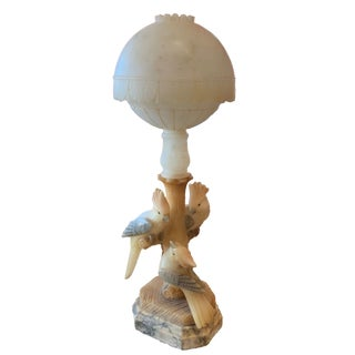 Alabaster Cockatoo Lamp Unusual 3 Birds Italy For Sale