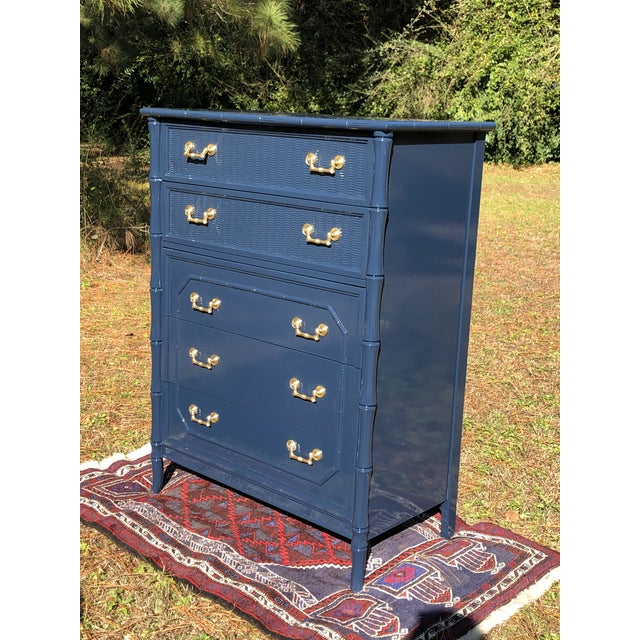 1970s Lacquered Faux Bamboo Broyhill Dresser For Sale - Image 10 of 13