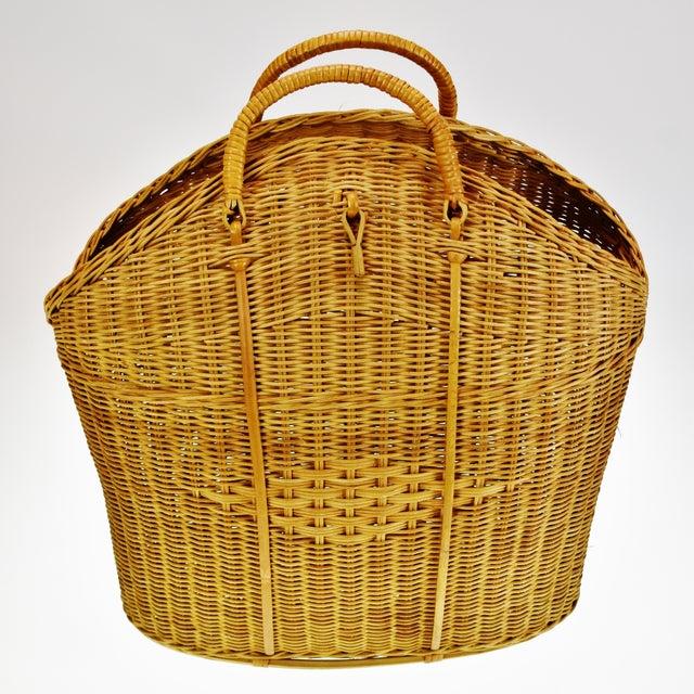 Vintage Wicker Tote Basket For Sale - Image 10 of 11