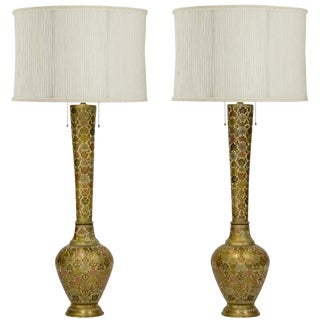 Tall Champlevé Brass Vase Lamps, a Pair For Sale