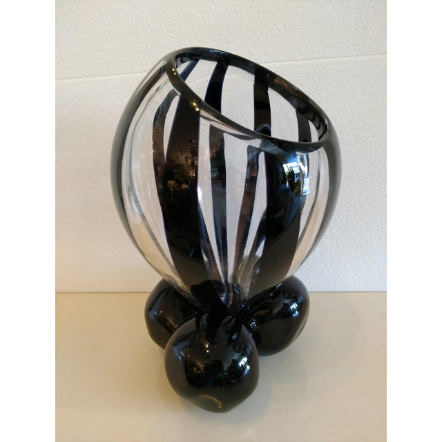 Mid-Century Modern Pino Signoretto, Murano Black/Clear Art Glass Vase on Stand For Sale - Image 3 of 12