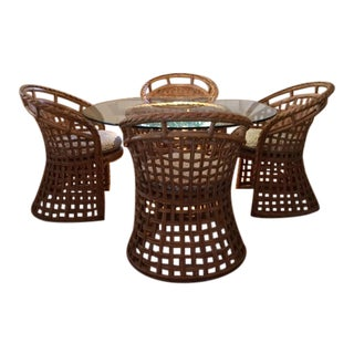 1970s Asian Bamboo/Rattan Dining Set - 5 Pieces For Sale