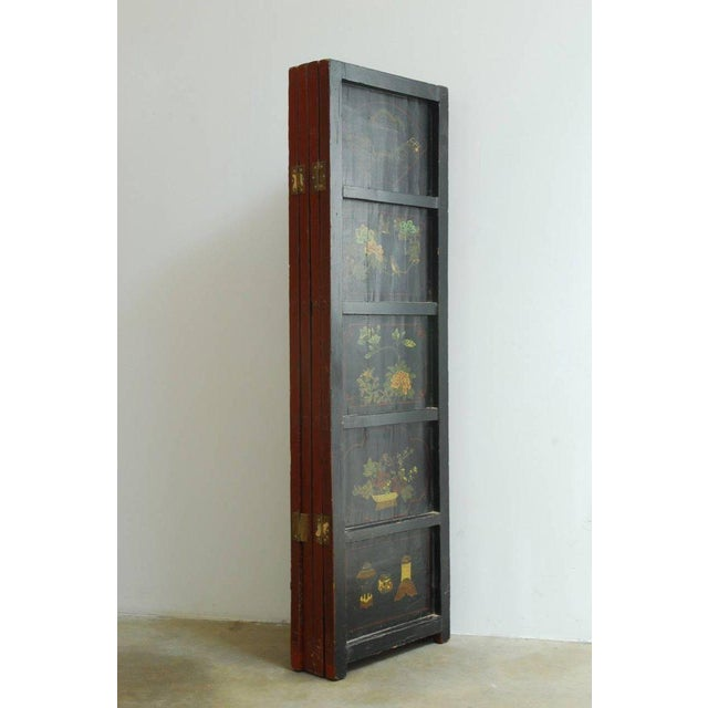 Red Chinese Coromandel Style Two-Sided Lacquer Screen For Sale - Image 8 of 13
