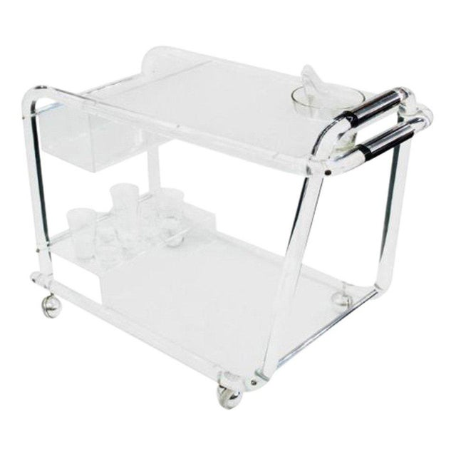 Chrome Mid-Century Lucite Bar Cart With Chrome Accents For Sale - Image 7 of 7
