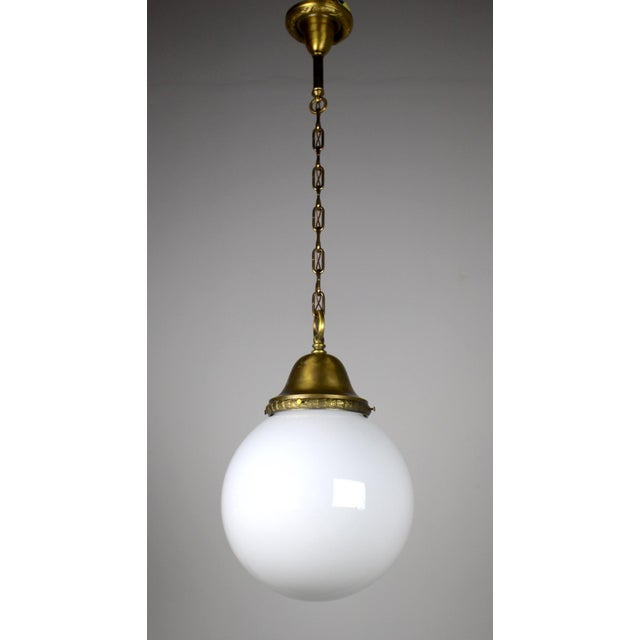 Pendant Fixture with Ball Shade For Sale - Image 4 of 6