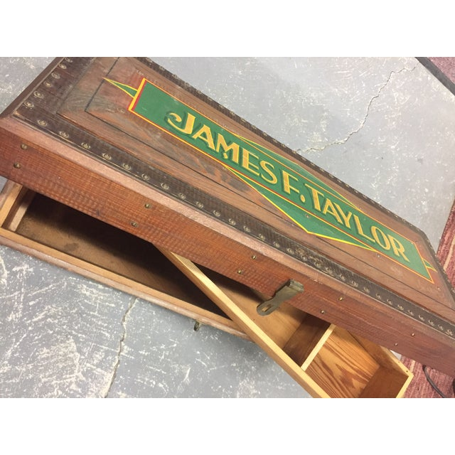 1940s Folk Art Pine Box With James F Taylor Letting For Sale - Image 4 of 8