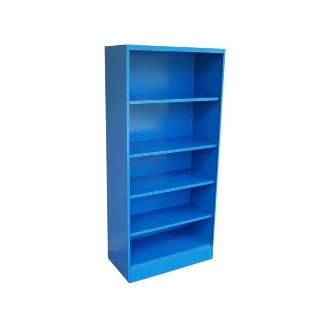 Blue Vintage Metal Bookcase - Image 1 of 5