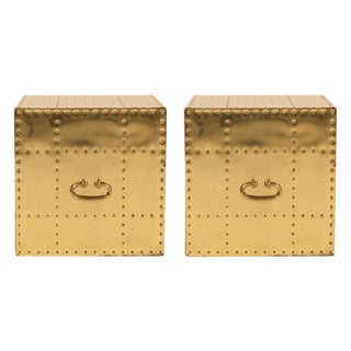 Sarreid, Ltd. Polished Brass Studded Cube Box Tables - a Pair For Sale