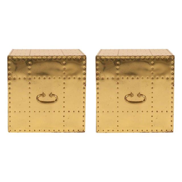 Sarreid, Ltd. Polished Brass Studded Cube Box Tables - a Pair For Sale