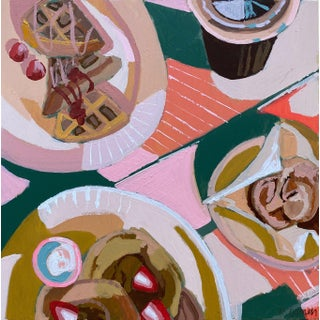 """Waffles or Pancakes"" Contemporary Still Life Acrylic Painting by Kate Comen For Sale"