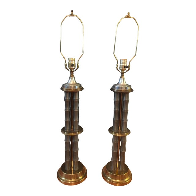 Vintage Metal & Brass Faux Bamboo Lamps - A Pair For Sale