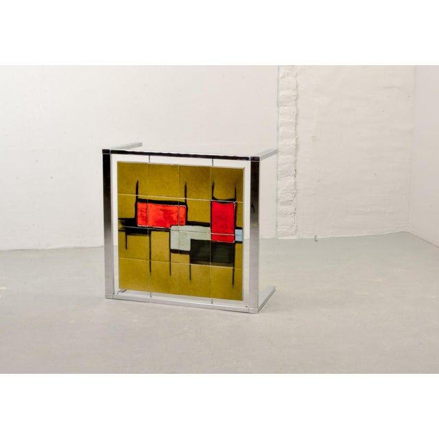 1970s Mid-Century Abstract Design Ceramic Side Table With Chrome Frame, 1970s For Sale - Image 5 of 11