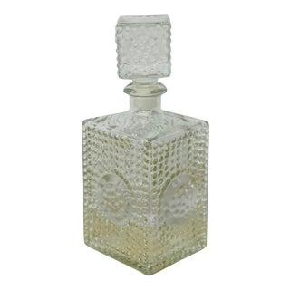 Vintage Mid-Century 1960s Square Glass Liquor Decanter For Sale
