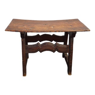 Vintage French Country Rustic Farmhouse Curved Seat Bench Stool For Sale