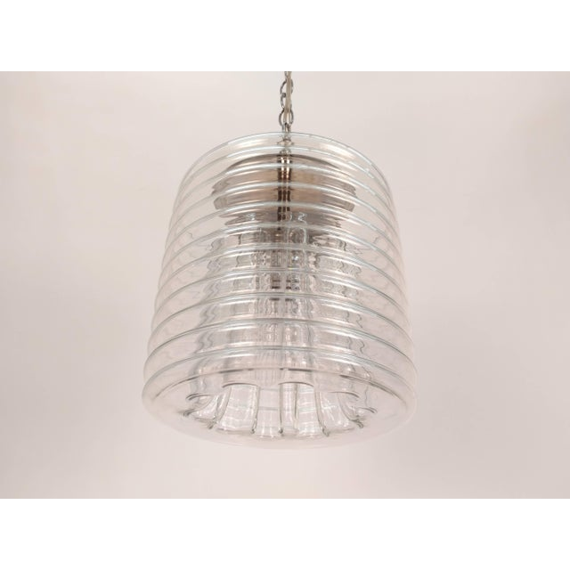 Blown Glass Clear Ribbed Glass Pendant For Sale - Image 7 of 9