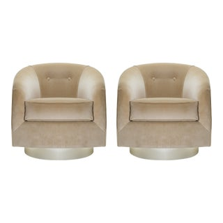 Swivel Tub Chairs in Camel Velvet With Polished Brass Bases, Pair