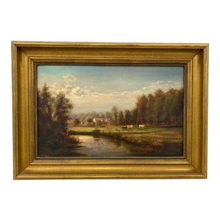 19th Century Country Landscape With Cattle For Sale