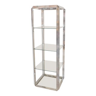 1960s Chrome and Glass Four Shelf Etagere For Sale