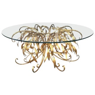 Italian Gilt Metal Floral Coffee Table For Sale