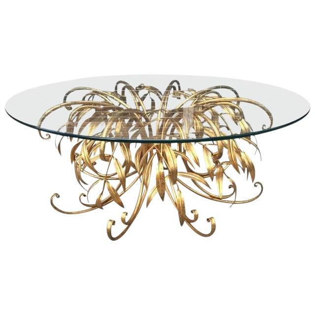 Italian Gilt Metal Floral Coffee Table For Sale