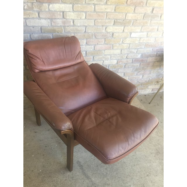 G Mobel Sweden Reclining Lounge Chair & Ottoman For Sale - Image 9 of 11