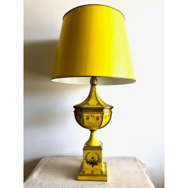 Metal Yellow Tole Table Lamp With Tole Shade For Sale - Image 7 of 11