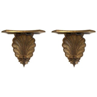 Pair 1960s Italian Gold Gilt Wall-Mounting Shelves