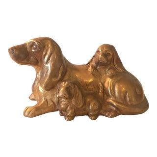 Brass Basset Hound and Pups Figurine