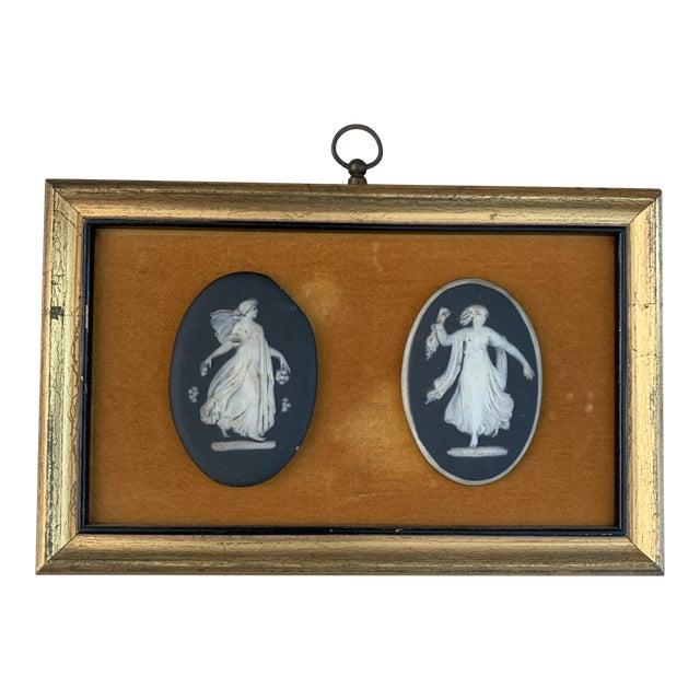 Antique Framed Black Basalt Cameos on Velvet For Sale