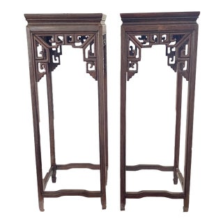 Chinoiserie Pedestals /Plant Stands Carved Wood Display Pair For Sale