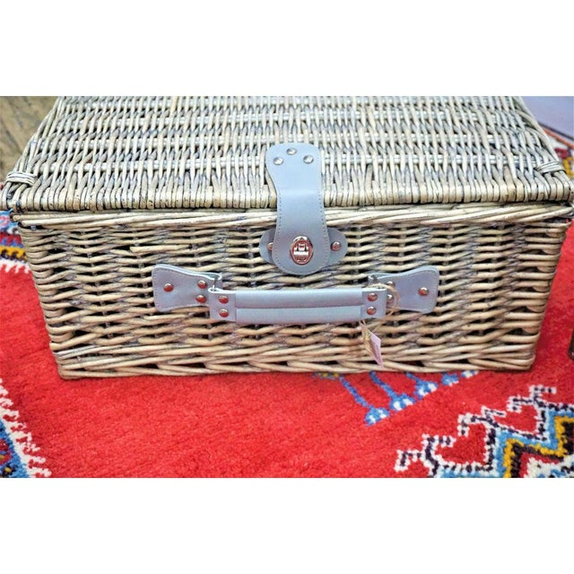 Wicker Picnic Basket With Flatware, Plates & Wine Glasses - Set of 21 - Image 6 of 8
