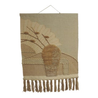 Vintage Boho-Chic Fiber Art Wall Hanging Tapestry With Fringes For Sale
