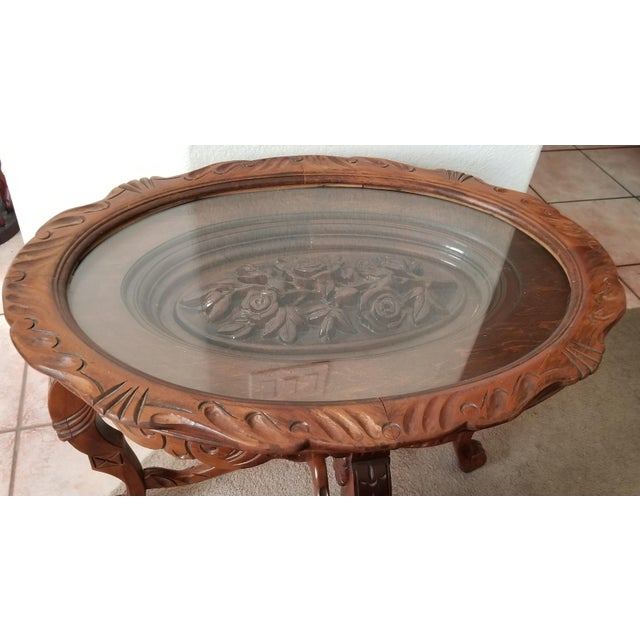 1930's Heavily Carved Wooden Table W/Glass Tray Removable Top For Sale - Image 9 of 13