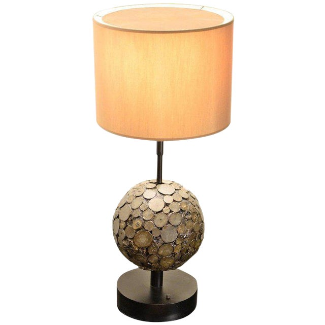 Ado Chale, Table Lamp in Marcassite, Circa 1970 For Sale
