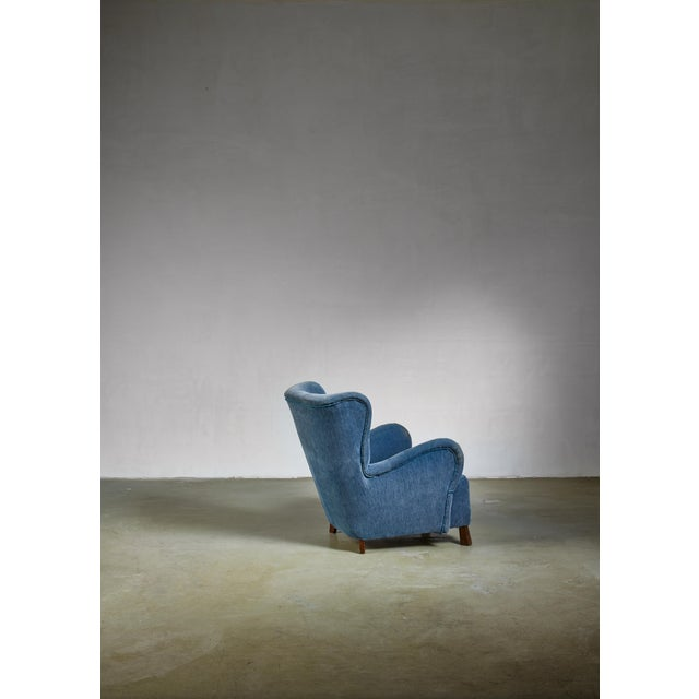 Mid-Century Modern Blue Otto Schulz Lounge Chair, Sweden, 1930s For Sale - Image 3 of 5