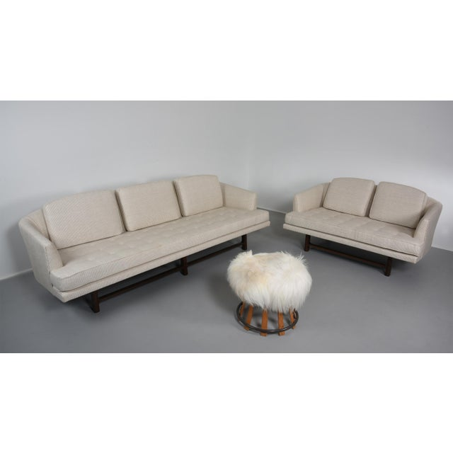 White Edward Wormley for Dunbar Settee With Mahogany Base, Circa 1956 For Sale - Image 8 of 10