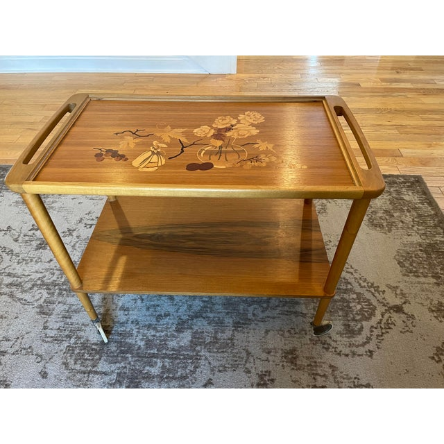 Mid 20th Century German Marquetry Tea Bar Cart For Sale - Image 10 of 10