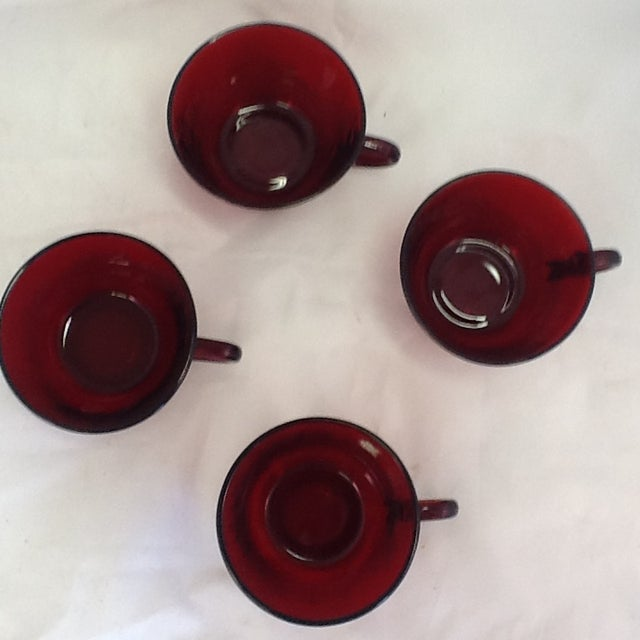 Vintage Cranberry Glass Cups - Set of 4 For Sale - Image 5 of 6