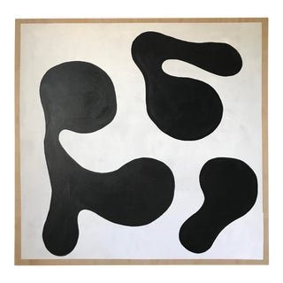 Modern Formation Monochrome Oversized Abstract Painting By Hannah Polskin