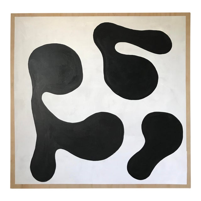 Modern Formation Monochrome Oversized Abstract Painting By Hannah Polskin For Sale