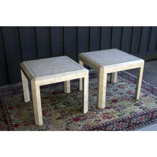 Brass Maitland Smith Tessellated Marble Tables, a Pair For Sale - Image 7 of 13