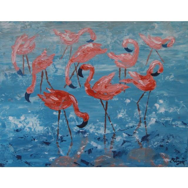 """Flamboyance"" Flamingo Painting by Celeste Plowden - Image 1 of 2"