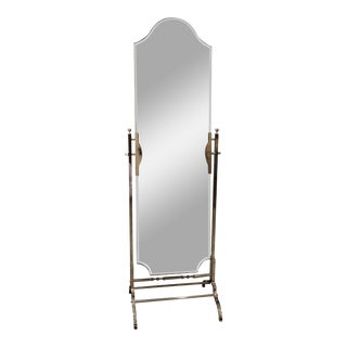 Pottery Barn Silver Standing Floor Mirror For Sale
