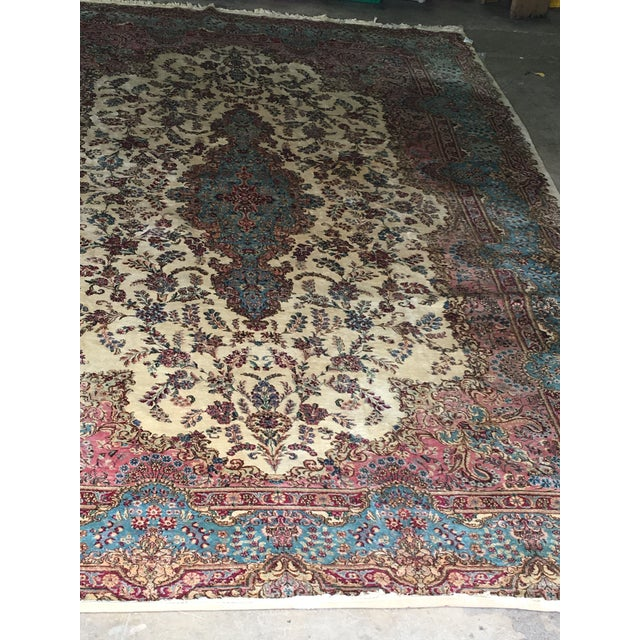 1940s Semi Antique Oversized Persian Kerman Rug - 12′ × 18′ For Sale - Image 5 of 12