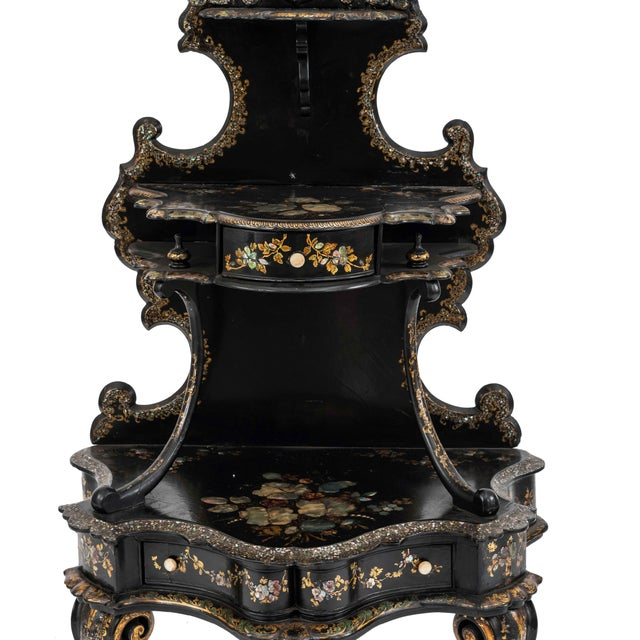 English Victorian Papier mache pearl inlaid black lacquered 3 tier etagere with oval mirror and 2 drawers.